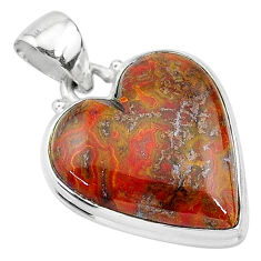 925 silver 15.08cts natural brown moroccan seam agate heart shape pendant t13243