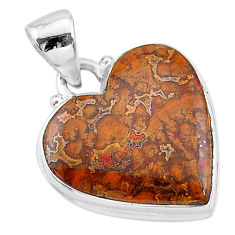 925 silver 13.57cts natural brown moroccan seam agate heart shape pendant t13253