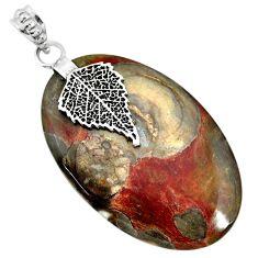 925 silver 34.51cts natural brown mushroom rhyolite deltoid leaf pendant r91397