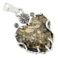 925 silver 14.80cts natural brown mushroom rhyolite heart pendant r77844
