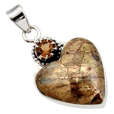 Clearance Sale- 925 silver 17.65cts natural brown mushroom rhyolite smoky topaz pendant d42251
