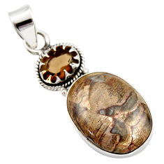 Clearance Sale- 925 silver 15.08cts natural brown mushroom rhyolite smoky topaz pendant d42255