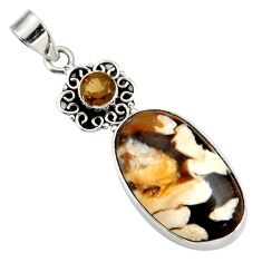 925 silver 21.50cts natural brown peanut petrified wood fossil pendant d41371
