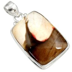 925 silver 23.36cts natural brown peanut petrified wood fossil pendant d41392