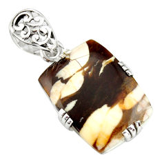 925 silver 17.50cts natural brown peanut petrified wood fossil pendant r20087