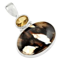 925 silver 16.20cts natural brown peanut petrified wood fossil pendant r20099
