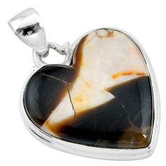 925 silver 19.72cts natural brown peanut petrified wood fossil pendant t13246
