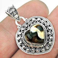 925 silver 5.11cts natural brown peanut petrified wood fossil pendant t56193