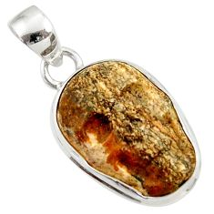 Clearance Sale- 925 silver 14.23cts natural brown picture jasper carving skull pendant d45224