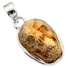 Clearance Sale- 925 silver 14.72cts natural brown picture jasper carving skull pendant d45229