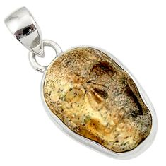 Clearance Sale- 925 silver 14.23cts natural brown picture jasper carving skull pendant d45233