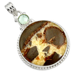 Clearance Sale- 925 silver 28.30cts natural brown septarian gonads amethyst pendant d41500