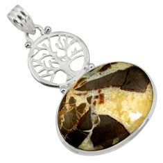 925 silver 24.38cts natural brown septarian gonads tree of life pendant d41487