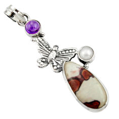 Clearance Sale- 925 silver 19.27cts natural brown silver leaf jasper butterfly pendant d44614