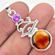 925 silver 6.33cts natural brown tiger's eye amethyst horse eye pendant t46384