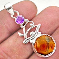 925 silver 6.53cts natural brown tiger's eye amethyst horse eye pendant t46409