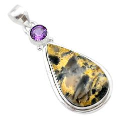 925 silver 17.95cts natural brown turkish stick agate amethyst pendant t22672