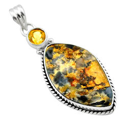 925 silver 17.22cts natural brown turkish stick agate citrine pendant t22720