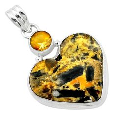 925 silver 16.20cts natural brown turkish stick agate citrine pendant t23133