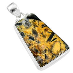 925 silver 19.57cts natural brown turkish stick agate fancy pendant t18392