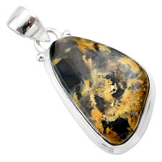 925 silver 14.47cts natural brown turkish stick agate fancy pendant t22678