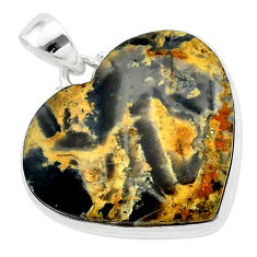 925 silver 25.00cts heart brown turkish stick agate heart shape pendant t22964