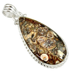 925 silver 15.65cts natural brown turritella fossil snail agate pendant r20144