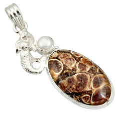 925 silver 19.50cts natural brown turritella fossil snail agate pendant r27390