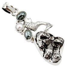 Clearance Sale- 925 silver 32.10cts natural campo del cielo (meteorite) fish pendant d43109