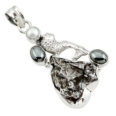 Clearance Sale- 925 silver 30.97cts natural campo del cielo (meteorite) fish pendant d43113