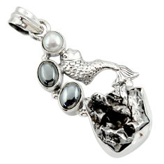 Clearance Sale- 925 silver 30.40cts natural campo del cielo (meteorite) fish pendant d43117