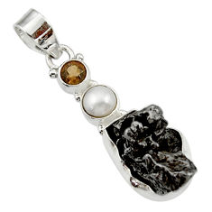 Clearance Sale- 925 silver 28.30cts natural campo del cielo (meteorite) pearl pendant d43111