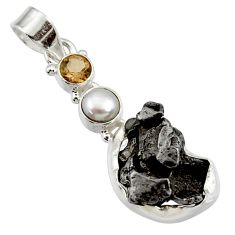 Clearance Sale- 925 silver 25.57cts natural campo del cielo (meteorite) pearl pendant d43123