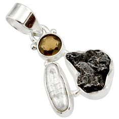 Clearance Sale- 925 silver 11.74cts natural campo del cielo (meteorite) pearl pendant d43139