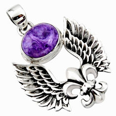 925 silver 5.29cts natural charoite (siberian) feather charm pendant r52895
