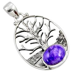 925 silver 5.13cts natural charoite (siberian) oval tree of life pendant r53002