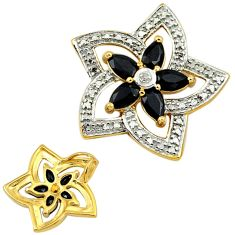 925 silver natural diamond blue sapphire 14k gold flower pendant jewelry c22790