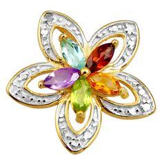 925 silver 1.70cts natural diamond purple amethyst 14k gold pendant c26324