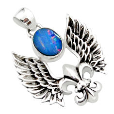 925 silver 3.49cts natural doublet opal australian feather charm pendant r52872