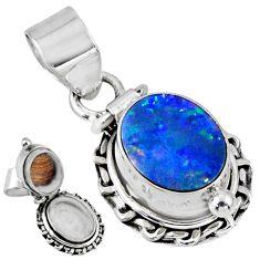 925 silver 4.02cts natural doublet opal australian poison box pendant r55651