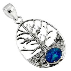 925 silver 2.44cts natural doublet opal australian tree of life pendant r50870