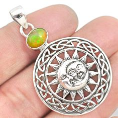 925 silver 2.11cts natural ethiopian opal crescent moon star pendant r72898