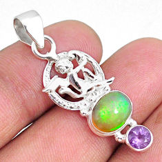 925 silver 4.08cts natural ethiopian opal oval amethyst angel pendant r75448