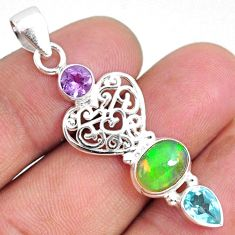 925 silver 5.54cts natural ethiopian opal oval amethyst topaz pendant r75464