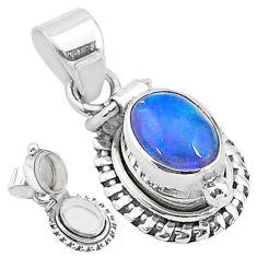 925 silver 2.81cts natural ethiopian opal oval shape poison box pendant t3753