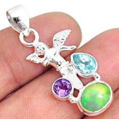 925 silver 5.24cts natural ethiopian opal topaz amethyst angel pendant r75473