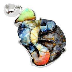 925 silver 18.82cts natural ethiopian rough boulder opal carving pendant t24059