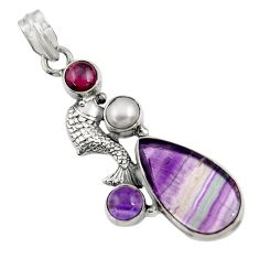 Clearance Sale- 925 silver 18.66cts natural fluorite amethyst white pearl fish pendant d43737