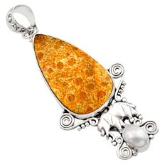 925 silver 15.85cts natural fossil coral petoskey stone elephant pendant d46717