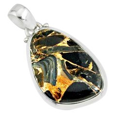 925 silver 15.68cts natural golden black australian obsidian pendant r81120